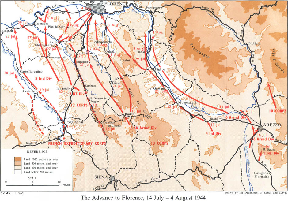 The advance to Florence, 14 July - 4 August 1944