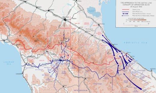 """Sulla carta l'approccio alla Linea Gotica dell'operazione """"Olive"""" 26 Agosto 1944, la linea rossa rappresenta la Linea Gotica, quella blu le posizioni degli Alleati."""
