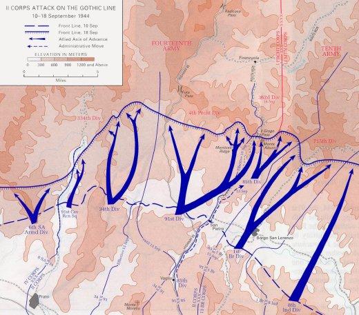 Sulla carta l'attacco alla Linea Gotica 10-18 sett. 1944