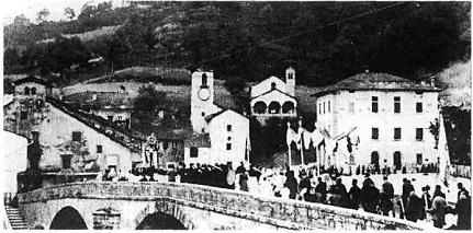 Palazzuolo sul Senio, il ponte fatto saltare dai tedeschi la notte del 24 settembre 1944.