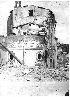 San Casciano in Val di Pesa, Piazza dell'Erbe e via Machiavelli con gli edifci danneggiati e distrutti dalle mine tedesche e dai bombardamenti alleati.