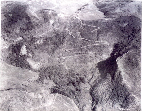 The Giogo Pass - south aerial view, Mount Altuzzo is on the right.
